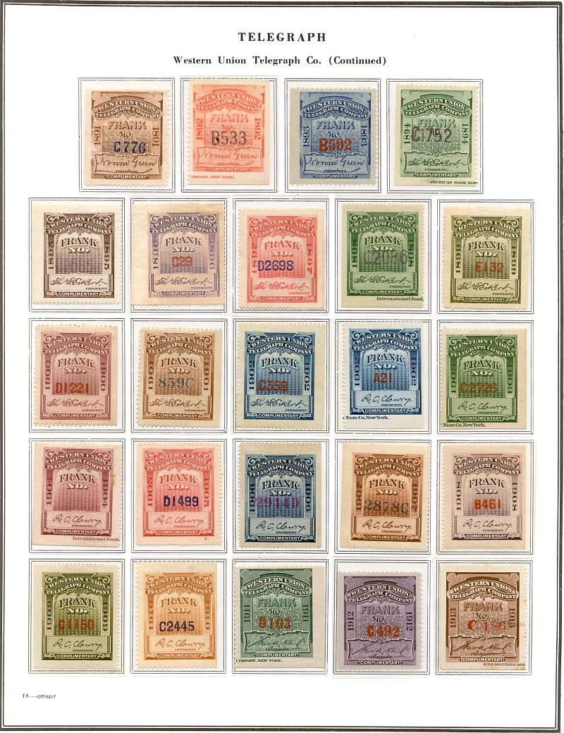 A page of the early Western Union stamps ...