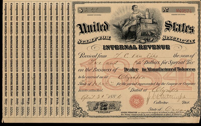 This Is A Used 1884 Special Tax Stamp Issued In Oregon For Dealing Manufactured Tobacco